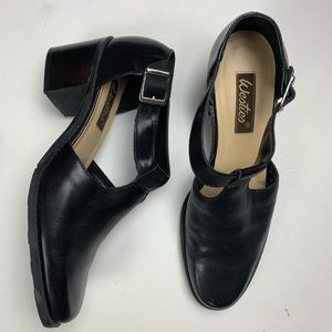 Westies Black Leather Mary Jane shoes block heel
